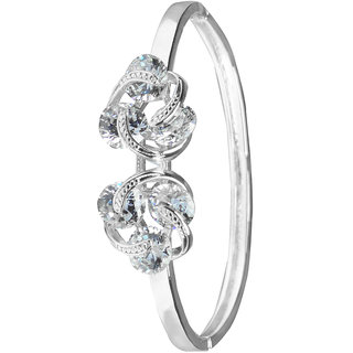 Glitters Ravishing Silver Rhodium CZ Bangle Kada for Women