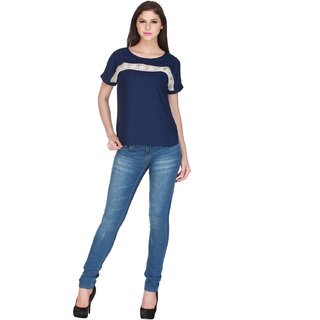 Add to style Navy Blue Solid Viscose Top
