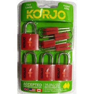 KORJO TSA KEYED LOCKS 4PK - RED-TSALL4-RD