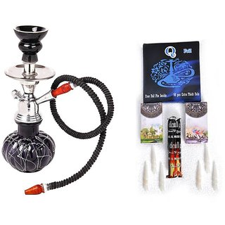 Desi Karigar Cheapest Combo of Glass Hookah with Flavour coal foil and filter in all E commerce Portal