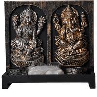 Polyresin Laxmi Ganesha Candle Holder (Silver, 15 Cm X 9.5 Cm X 27 Cm)