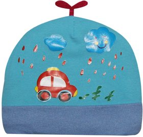 Wonderkids Car Patch Baby Cap  Blue 3 To 9 Months