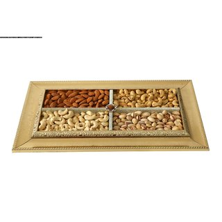 NutBut GiftBox Silver Wood Tray (Cashew-Almond-Pista-Pepper Cashew)