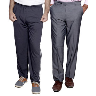 Indiweaves Mens Formal Trousers With MenS Premium Cotton Lower With 1 Zipper Pocket And 1 Open Pocket Pack Of -2