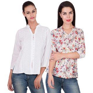 American-Elm Womens Slim Fit Printed Shirts- Pack of 2
