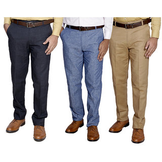 Indiweaves Mens Linen Formal Trouser Pack Of -3