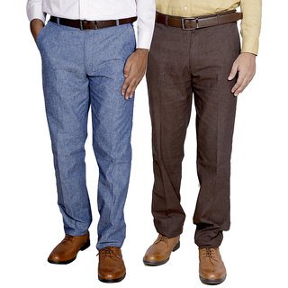 Indiweaves Mens Linen Formal Trouser Pack Of -2