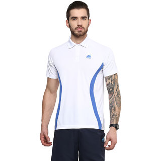 Aurro Sports White And Royal Victory Polo Flat Knit