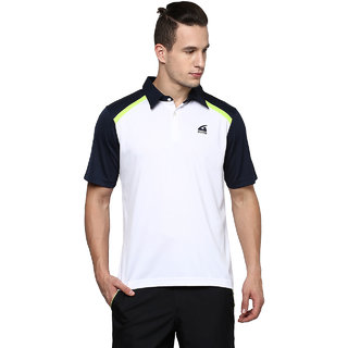 Aurro Sports White And Navy And Limegreen Well Equiped Polo T Shirts