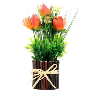 Orange Tulips Artificial Flower with Pot