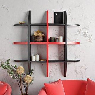 BM Wood furniture designed globe shape floating wall shelf unit ( multi color)