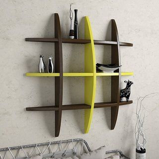 BM Wood furniture designed globe shape floating wall shelf unit ( multi color)
