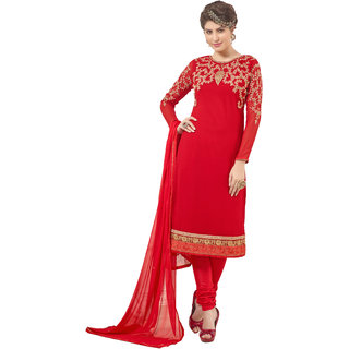 Khushali Presents Embroidered Georgette Dress Material(Red)