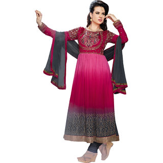 Khushali Presents Semi Georgette Anarkali Semi-Stitched Dress Material(Pink,Grey)