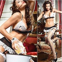 6 PC - Women Intimate Lingerie Set - Honeymoon Costumes Black  White 6 PC set with Stocking