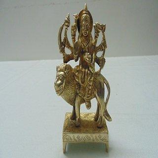 Divine Gods Mata MahaLaxmi Sited On Kamal Brass Statue/Idol - 11.43 cm