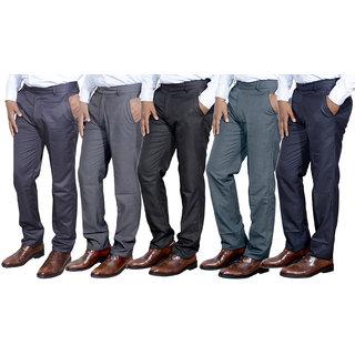 Indiweaves Combo Offer Mens Formal Trouser (Pack Of 5)