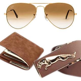 Combo offer men belt wallet and free gogals