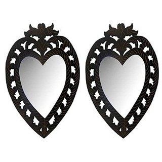 Onlineshoppee Wooden Antique With Handicraft Work Heart Design Mirror Frame Size(LxBxH-12x1x14) Inch Pack Of 2