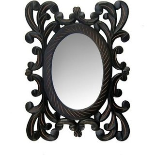 Onlineshoppee Wooden Antique With Handicraft Work Fancy Design Mirror Frame Size(LxBxH-9x1x12) Inch