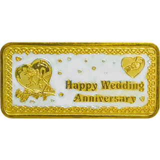 Shubham Motiwala BIS 999 Hallmark Certified Gold Polish Happy Anniversary Coin, 20 gms