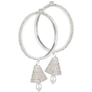 Biyu Party Wear 2pc Cubic Zirconia Pearl Silver Plated Bangle Set