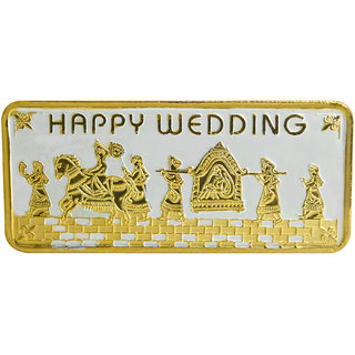 Shubham Motiwala BIS 999 Hallmark Certified Gold Polish Happy Wedding Coin, 50 Gms