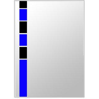 Snb Designer Mirror Glass Blue Black Colour 21X15 Inches