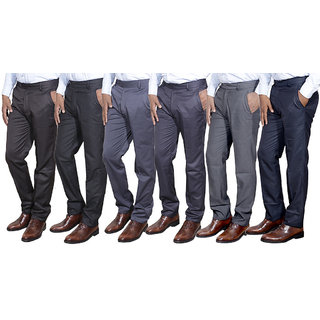 Indiweaves Combo Offer Mens Formal Trouser (Pack Of 6)