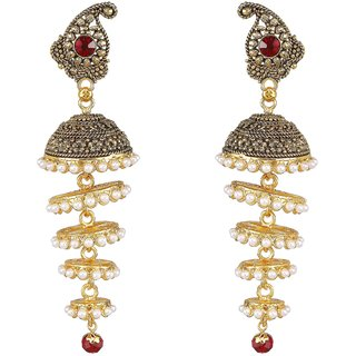 Biyu Traditional Ethnic Party Wear Maroon Pearl Gold Oxidised Traditional Jhumki Earrings