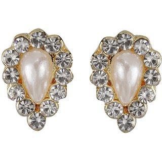 Biyu New Design Pearl Cubic Zirconia Gold Plated Zinc Alloy Stud Earring