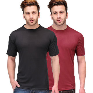 Tripr mens RoundNeck Tshirt Combo black maroon