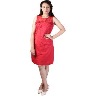 dlyric Womens Cut Work Red Dress