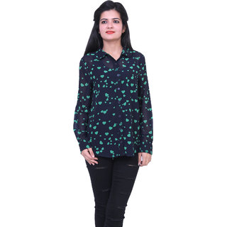 38d4802cc1226b Buy dlyric Womens Heart Print Casual Dark Blue Shirt Online - Get 21% Off