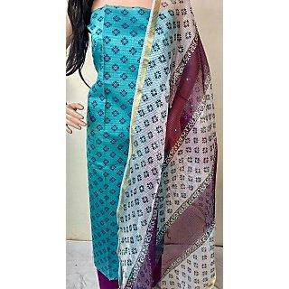 HF308 Blue based floral design Cotton blend top with deep violet bottom and designed duppatta