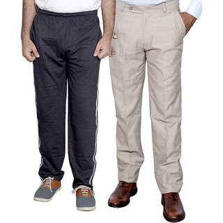 IndiStar Mens Formal Trousers with Mens Premium Cotton Lower with 1 Zipper Pocket and 1 Open Pocket pack of -2