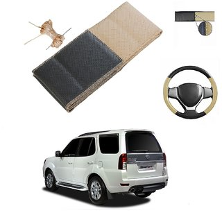 Millionaro Art-Leather Beige  Black Breathable Hand Stitched Steering Cover for  Tata Safari Storme  (2015 Upwards)