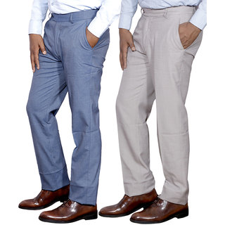 225c686ff9d Buy IndiStar Mens Formal Trousers Combo-2 Online - Get 10% Off