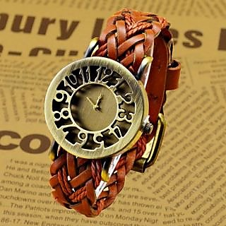 Leather Strap Watch Hand Knitted Leather Watch Women