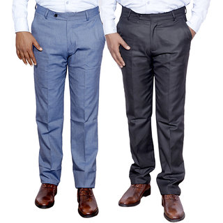Indiweaves Combo Offer Mens Formal Trouser (Pack Of 2)
