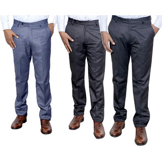 Indiweaves Combo Offer Mens Formal Trouser (Pack Of 3)