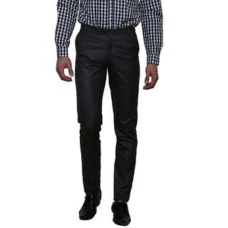 Routeen Mens Demando Black Slim Fit Formal Trousers for Men