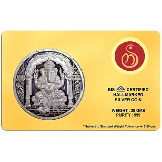 Shubham Motiwala BIS 999 Hallmark Certified Card Packed Ganesh Coin, 20 Gms