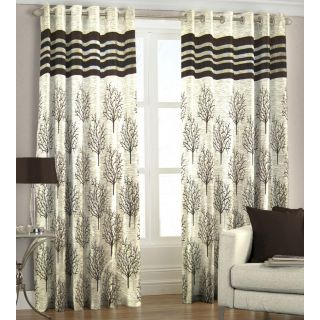 Just Linen Coffee Polyester Jacquard Door eyelet curtain