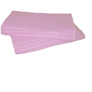 Just Linen Pair of 100 Cotton Striped Super Soft Pink Colored Small Size Travel Towels