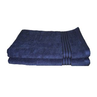 Just Linen Pair of 100 Cotton Ultra Plus Midnight Blue Hand Towels