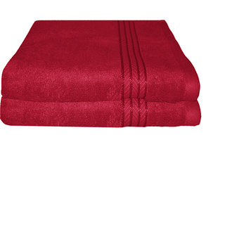 Just Linen Pair of 100 Cotton Ultra Plus Red Hand Towels