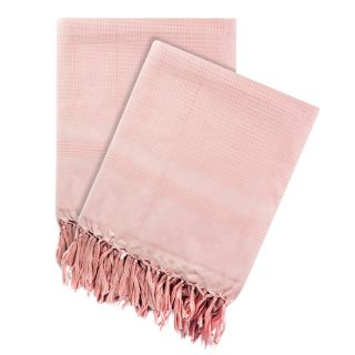 Just Linen 100 Cotton Pair of Light Pink Honey Comb Weave Woven Bath Towels