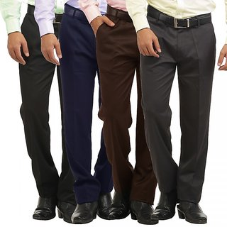 Inspire Men's Multicolor Comfort Fit Formal Trousers (Pack of 4)