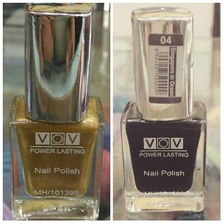VOV Combo of  Black  Gold Nail Paint